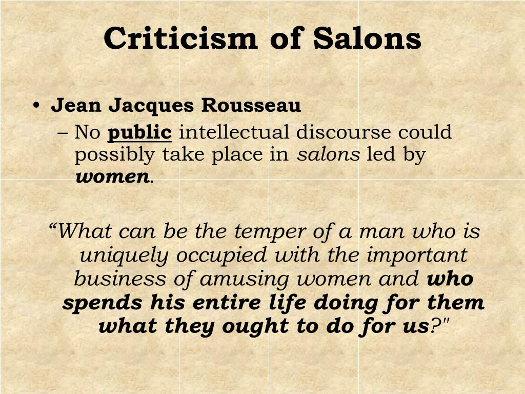 Criticism of Salons