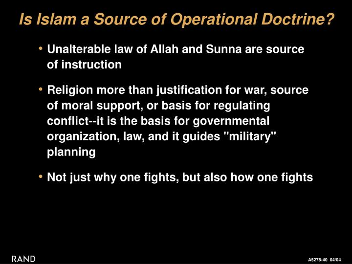 Is Islam a Source of Operational Doctrine?