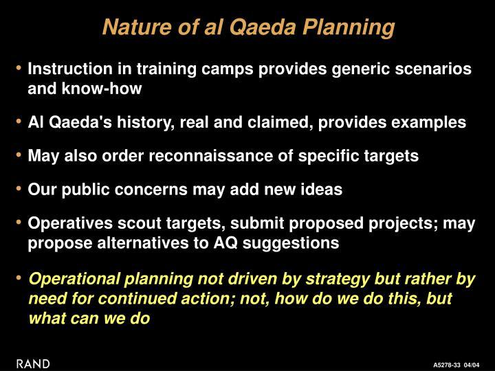 Nature of al Qaeda Planning