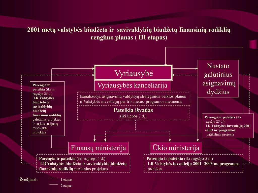 2001 metų valstybės biudžeto ir  savivaldybių biudžetų finansinių rodiklių rengimo planas ( III etapas)