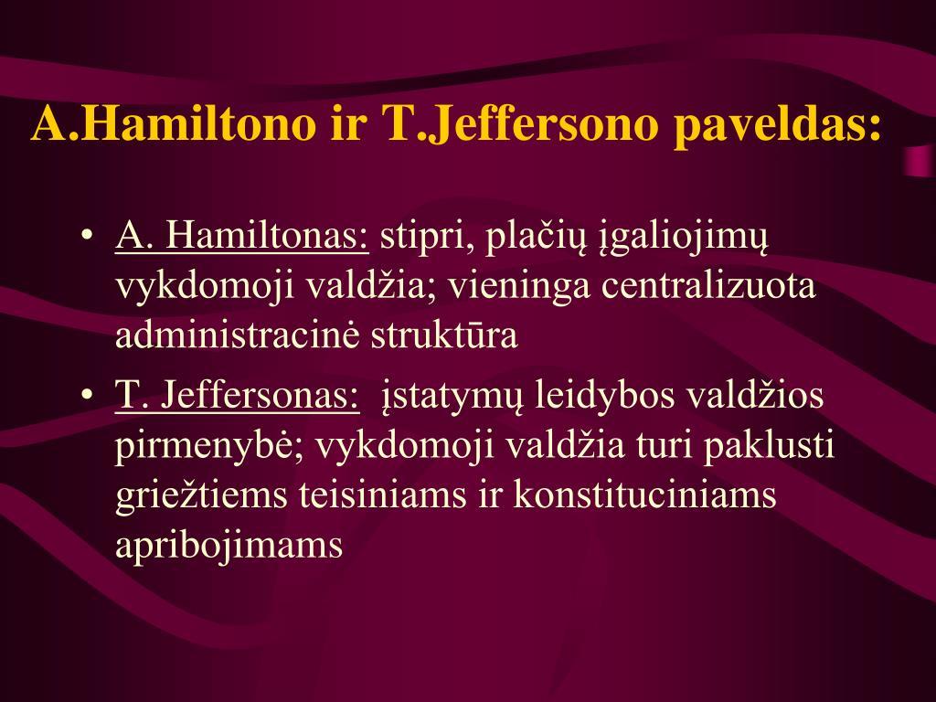 A.Hamiltono ir T.Jeffersono