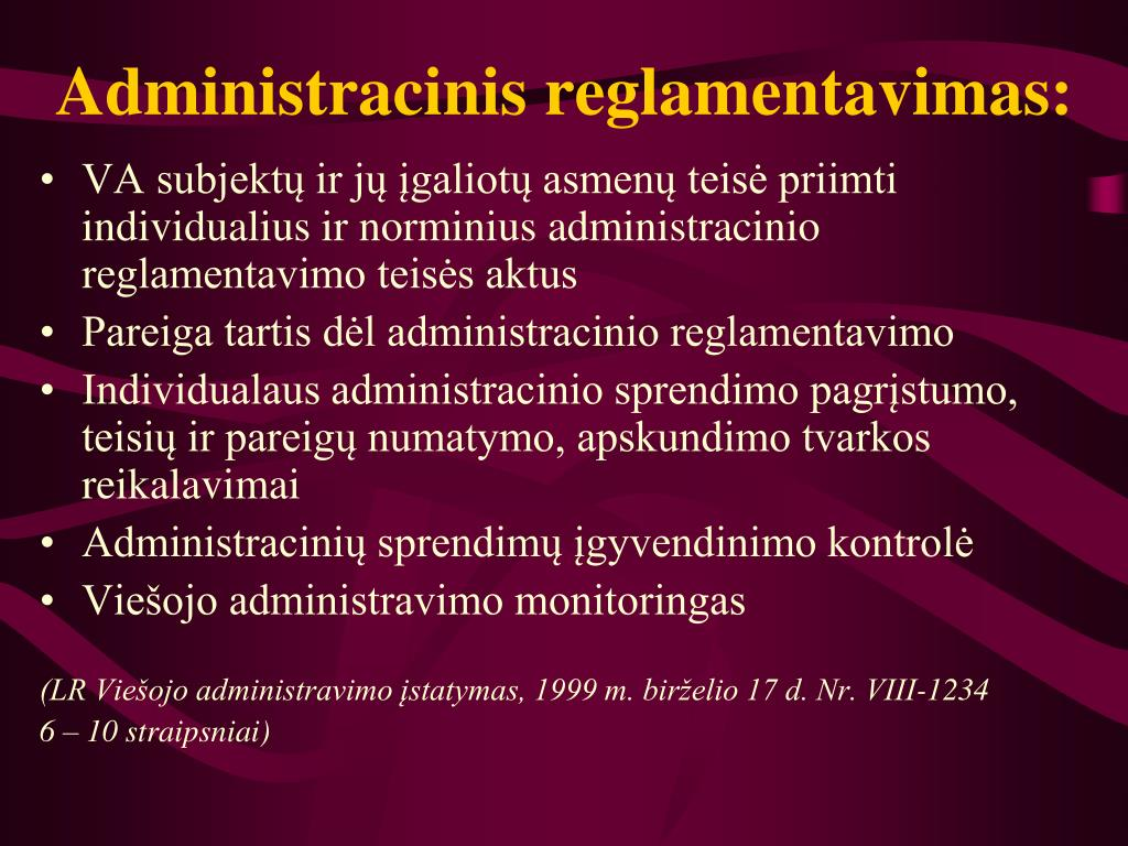 Administracinis reglamentavimas: