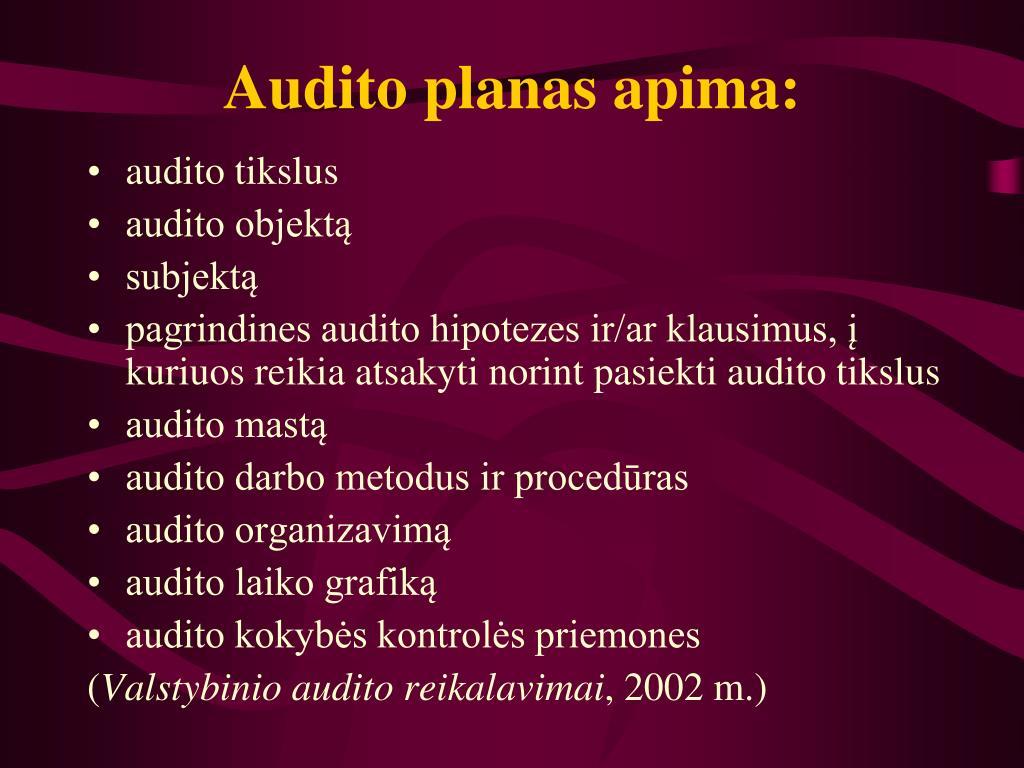Audito planas apima: