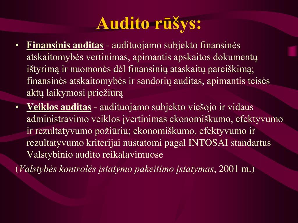 Audito rūšys: