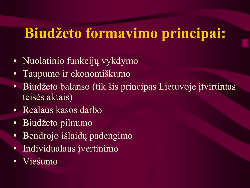 Biudžeto formavimo principai: