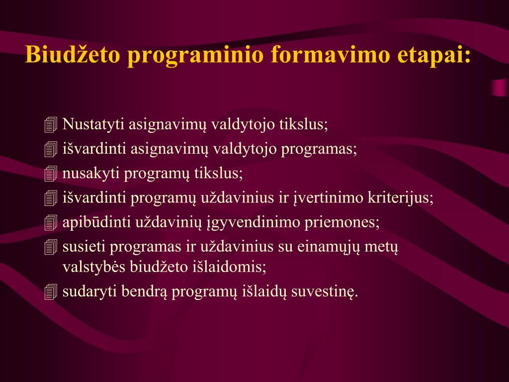 Biudžeto programinio formavimo etapai: