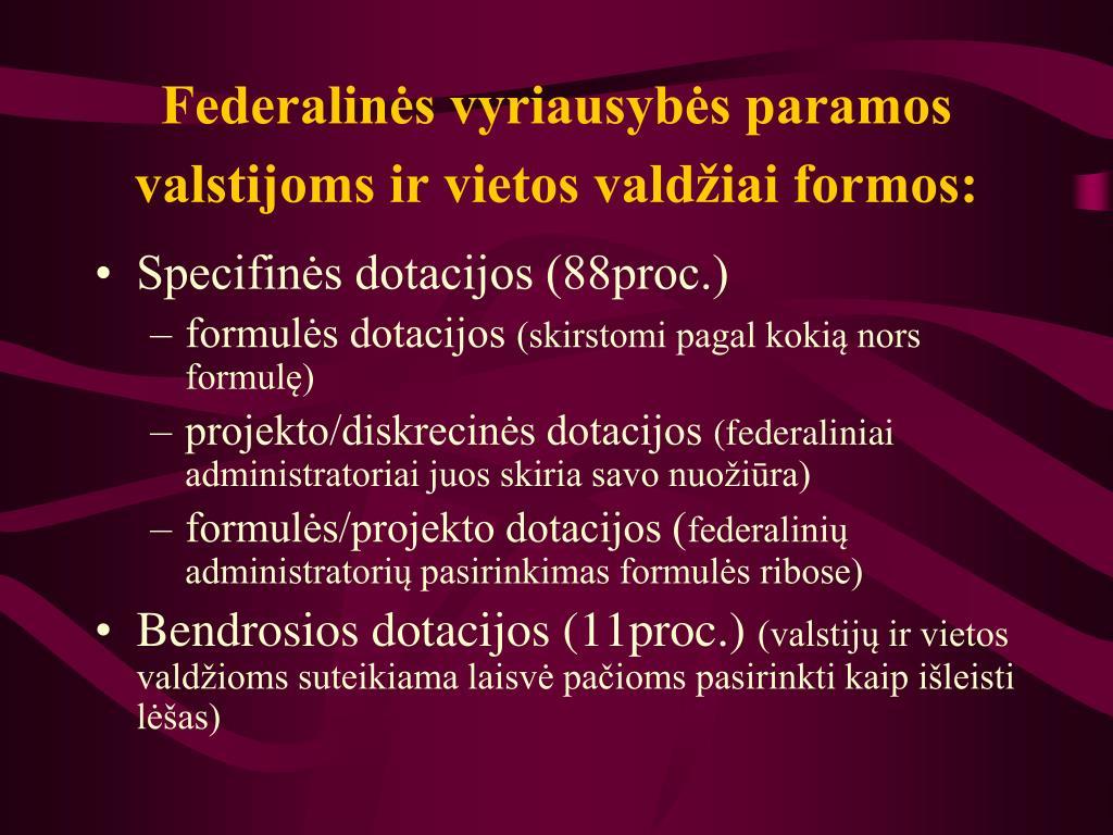 Federalinės vyriausybės paramos valstijoms ir vietos valdžiai formos: