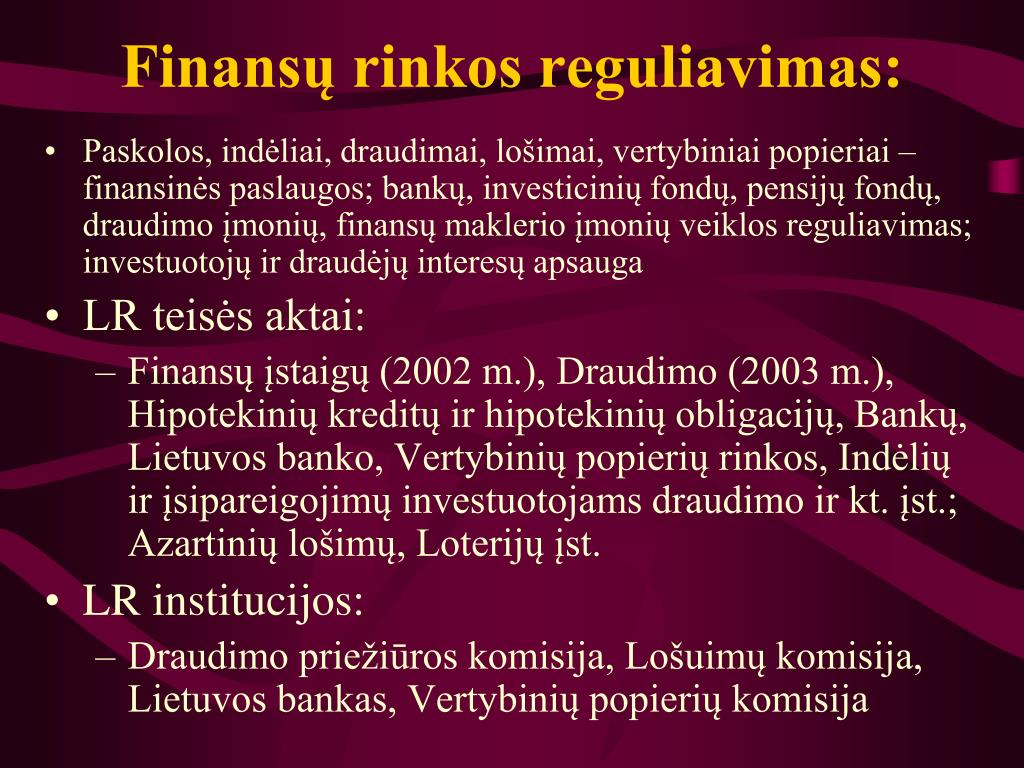 Finansų rinkos reguliavimas: