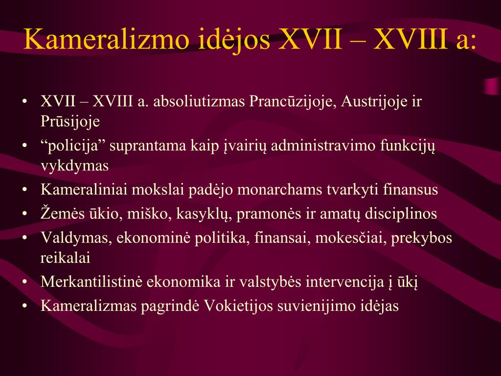 Kameralizmo idėjos XVII – XVIII a: