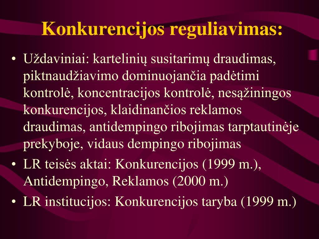 Konkurencijos reguliavimas: