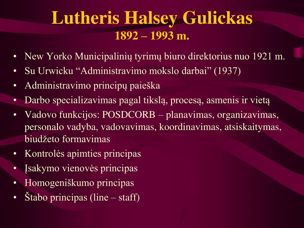 Lutheris Halsey Gulickas