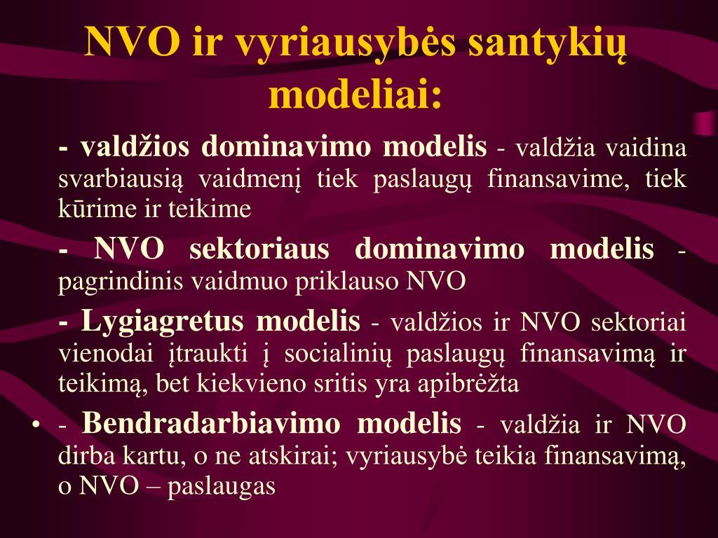 NVO ir vyriausybės santykių modeliai: