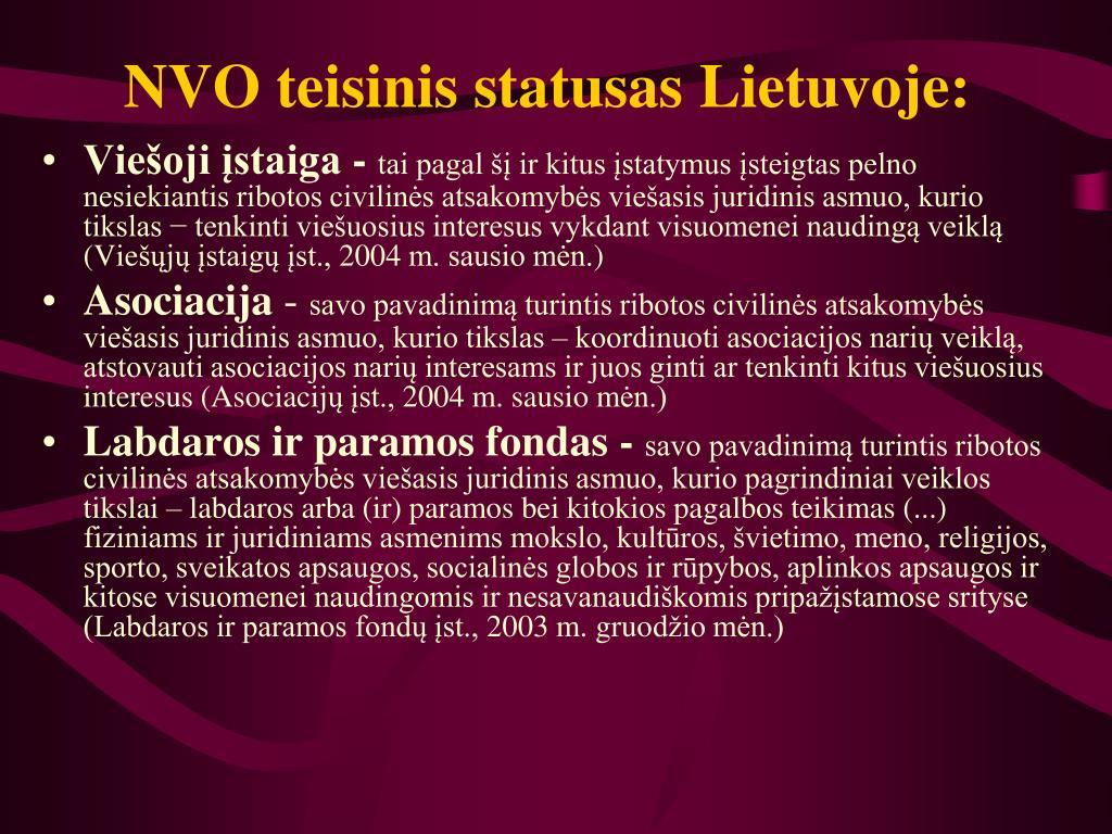 NVO teisinis statusas