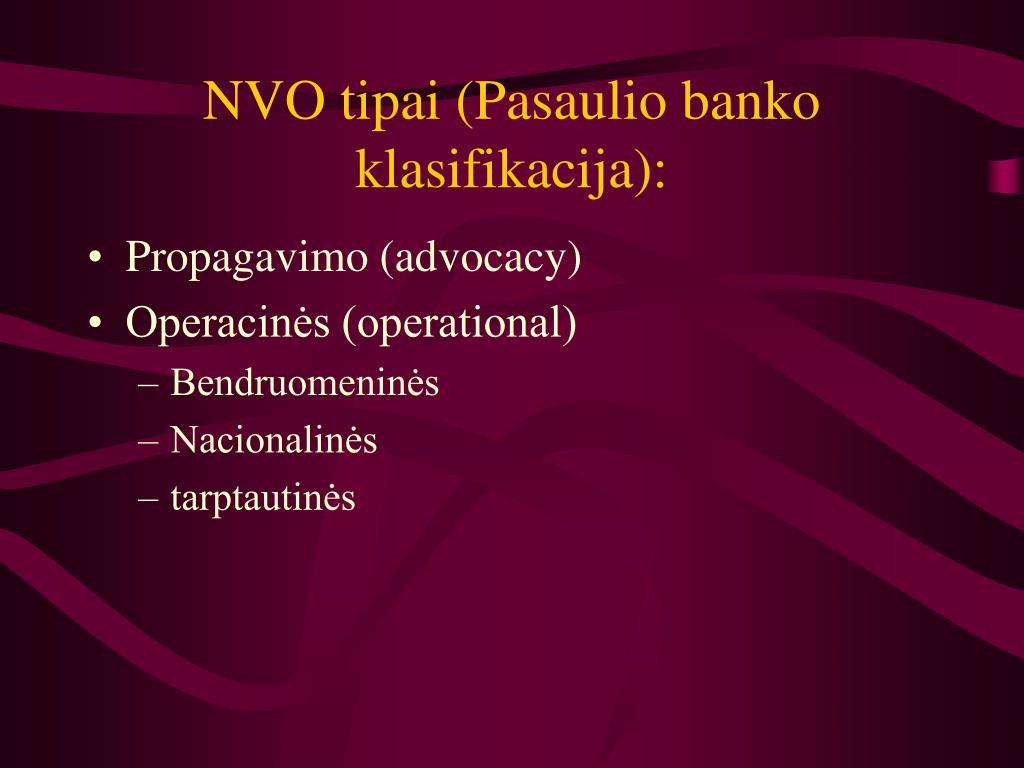 NVO tipai (Pasaulio banko klasifikacija):