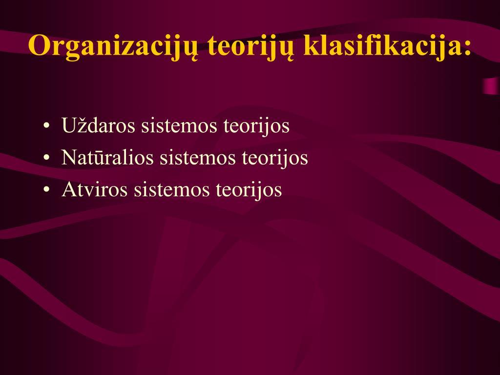 Organizacijų teorijų klasifikacija: