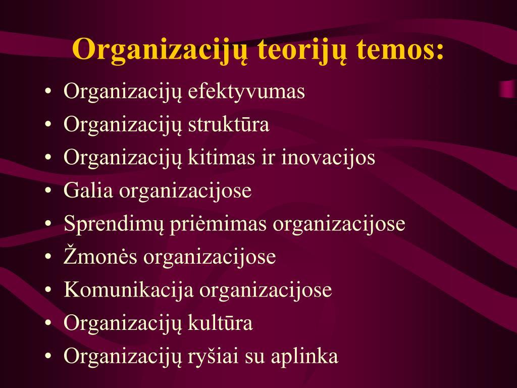 Organizacijų teorijų temos: