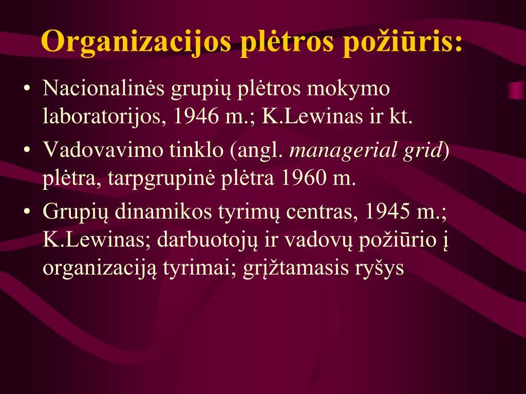 Organizacijos plėtros požiūris: