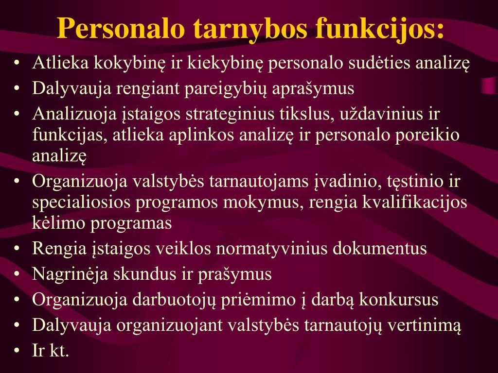 Personalo tarnybos funkcijos: