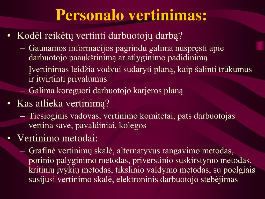 Personalo vertinimas: