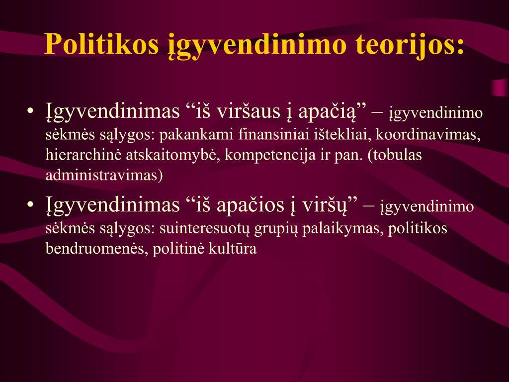 Politikos įgyvendinimo teorijos: