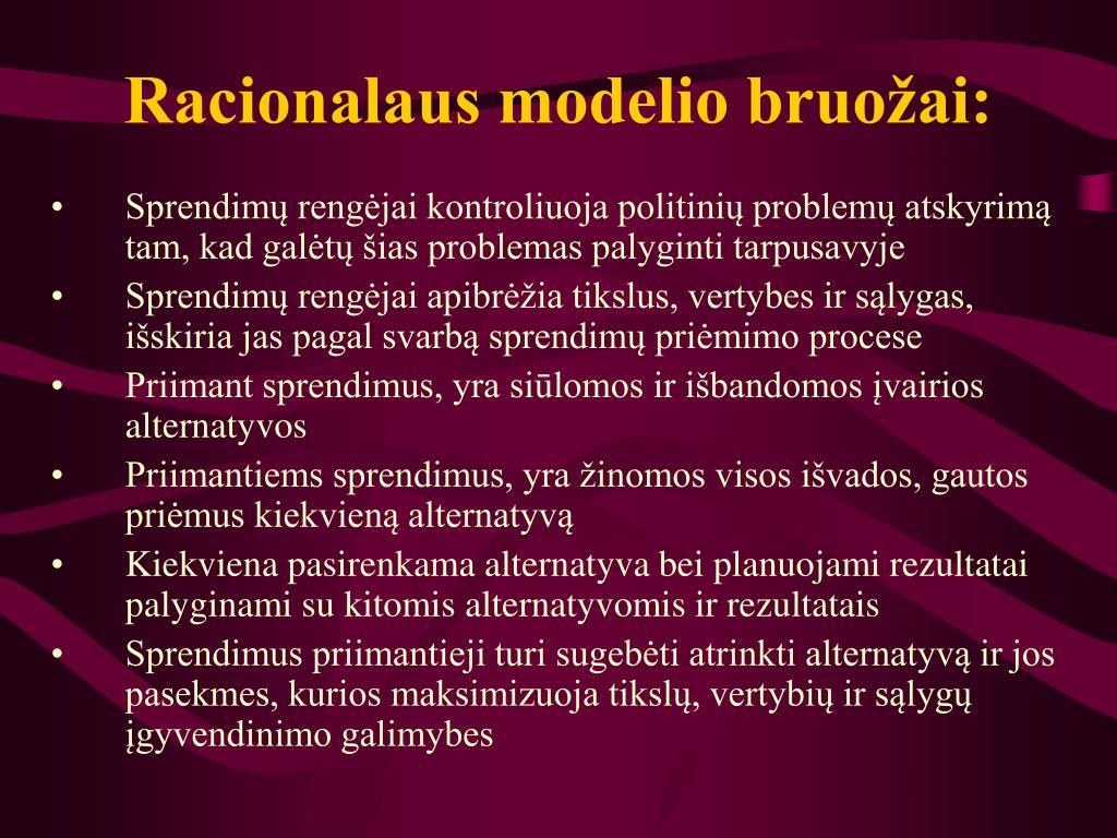 Racionalaus modelio bruožai: