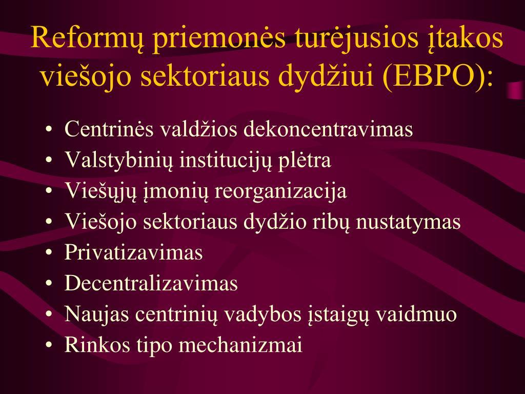 Reformų priemonės turėjusios įtakos viešojo sektoriaus dydžiui (EBPO):