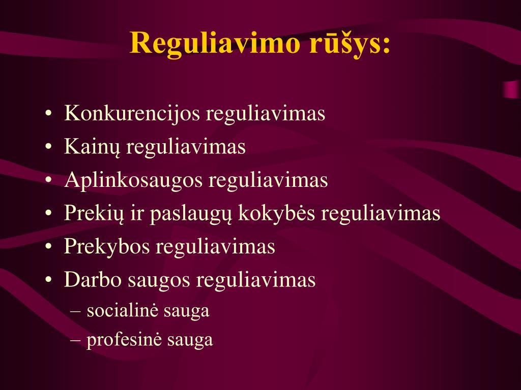 Reguliavimo rūšys: