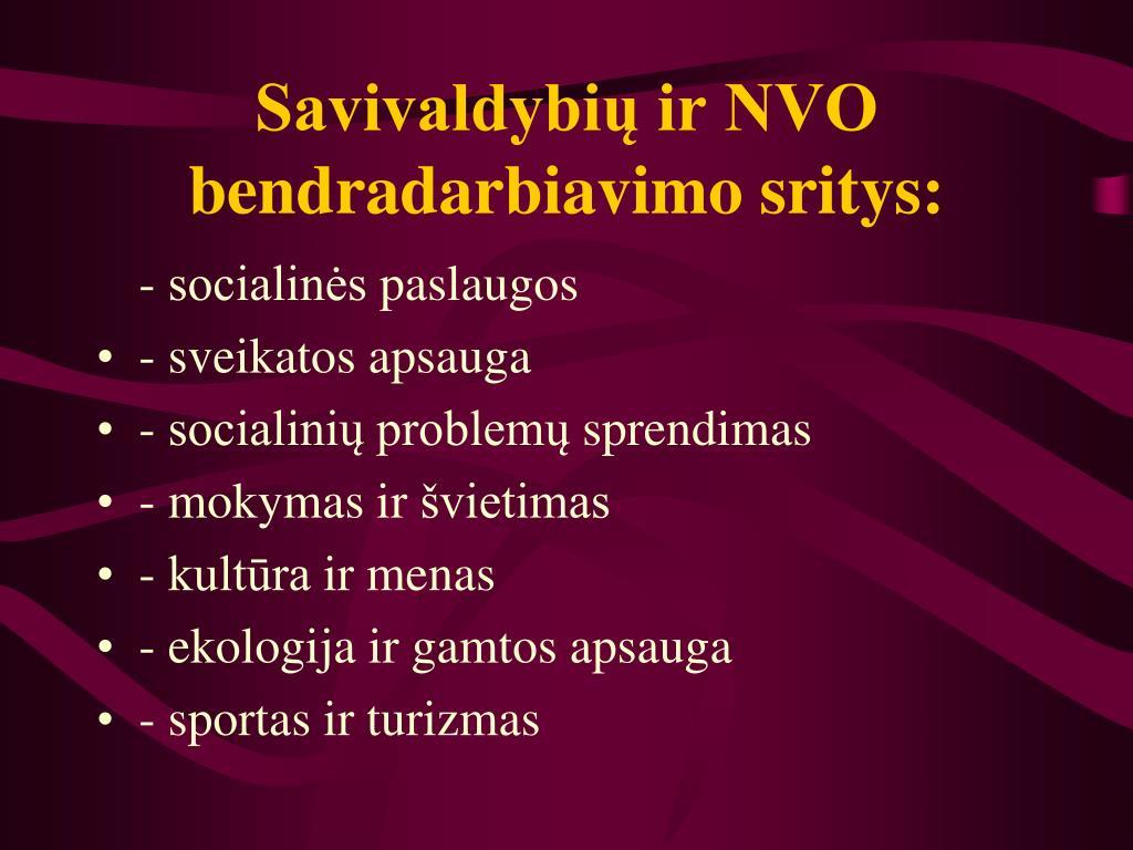 Savivaldybių ir NVO bendradarbiavimo sritys: