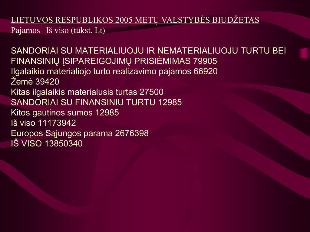 LIETUVOS RESPUBLIKOS 2005 METŲ