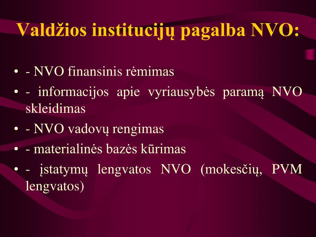 Valdžios institucijų pagalba NVO: