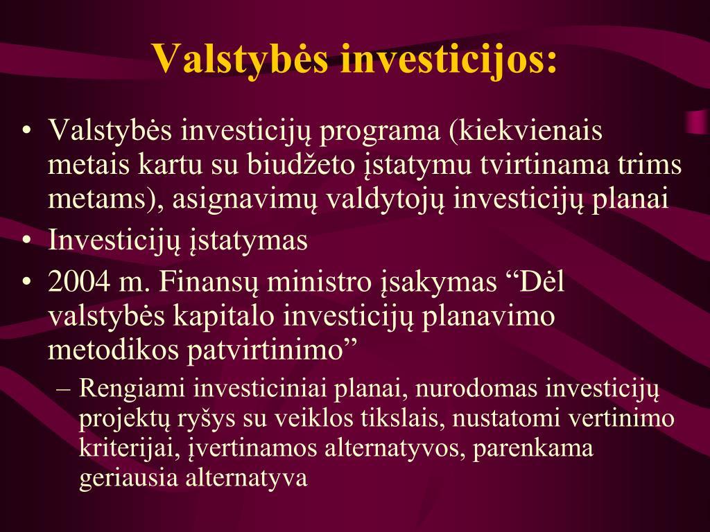 Valstybės investicijos: