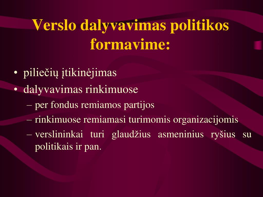 Verslo dalyvavimas politikos formavime: