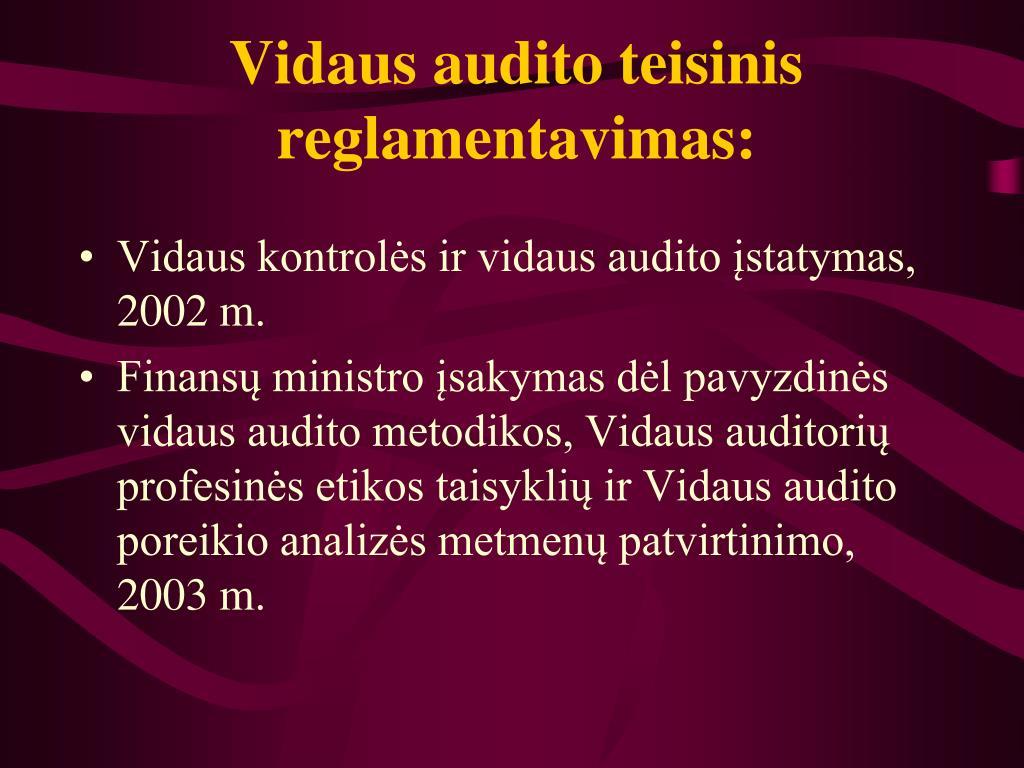 Vidaus audito teisinis reglamentavimas: