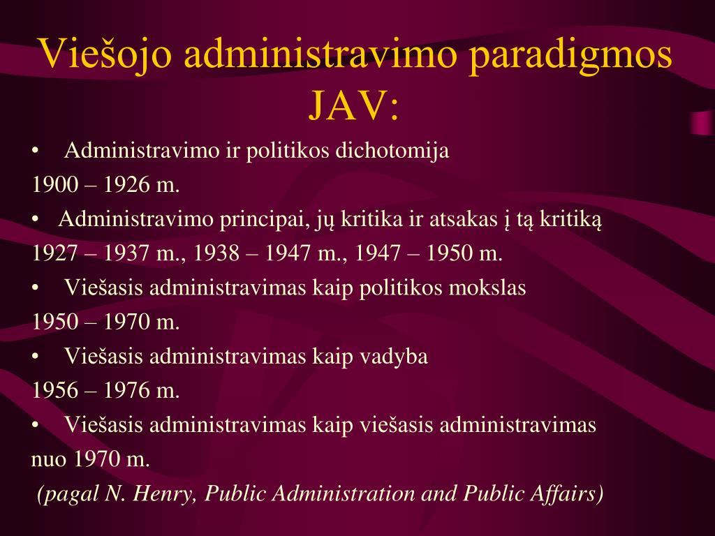 Viešojo administravimo paradigmos JAV:
