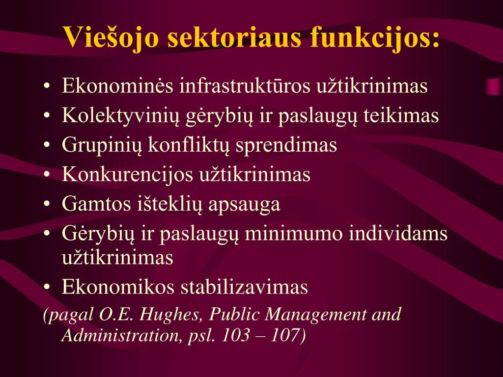 Viešojo sektoriaus funkcijos: