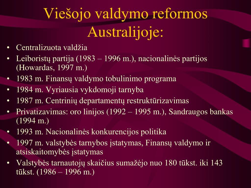 Viešojo valdymo reformos Australijoje: