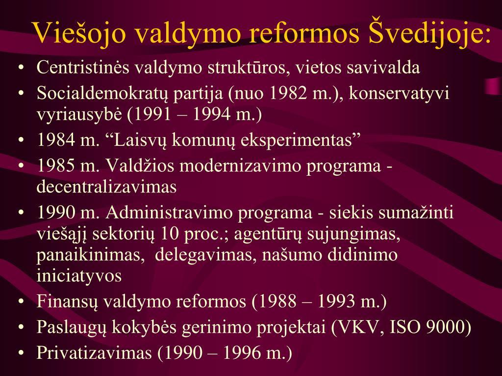 Viešojo valdymo reformos Švedijoje: