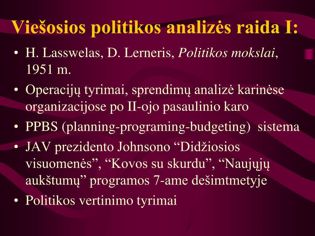 Viešosios politikos analizės raida I: