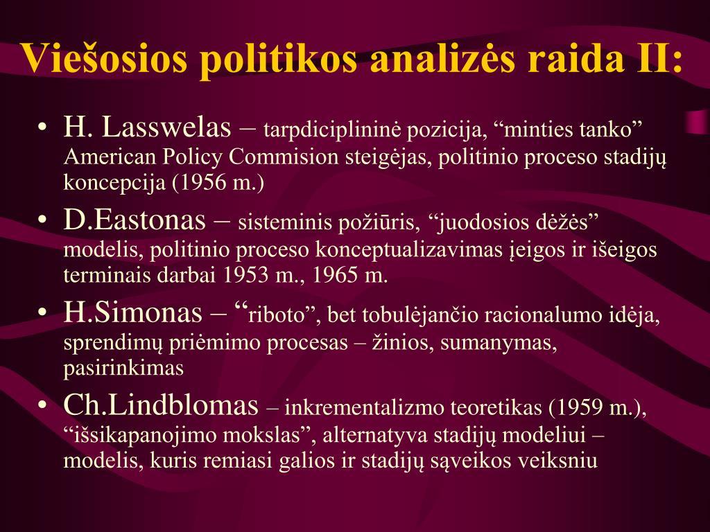 Viešosios politikos analizės raida II: