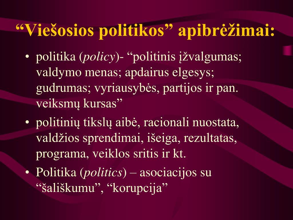 """""""Viešosios politikos"""" apibrėžimai:"""