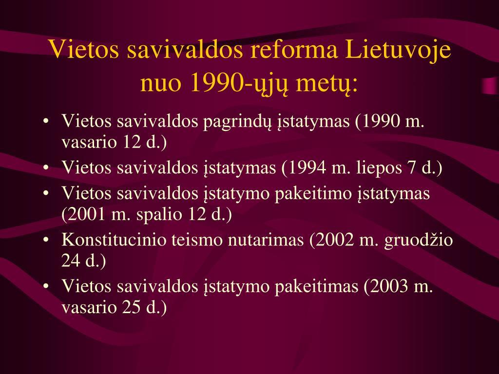 Vietos savivaldos reforma Lietuvoje nuo