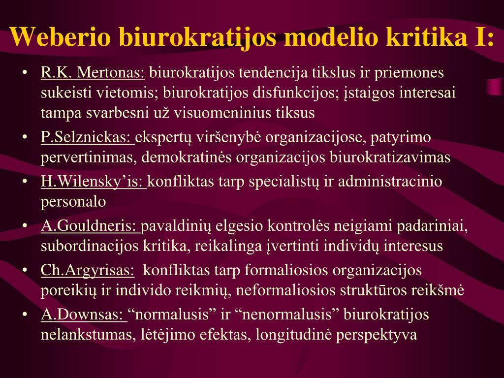 Weberio biurokratijos modelio kritika I: