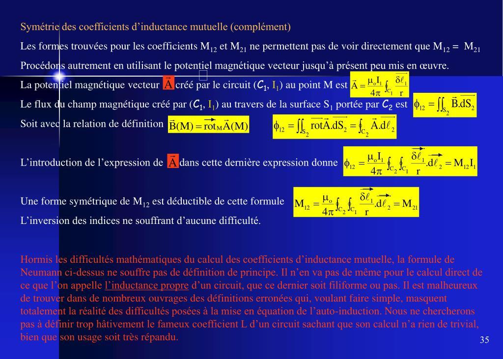 Symétrie des coefficients d'inductance mutuelle (complément)