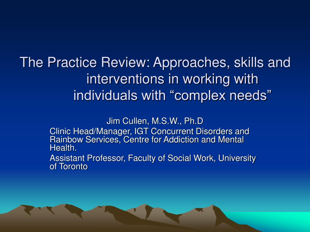 """The Practice Review: Approaches, skills and interventions in working with individuals with """"complex needs"""""""