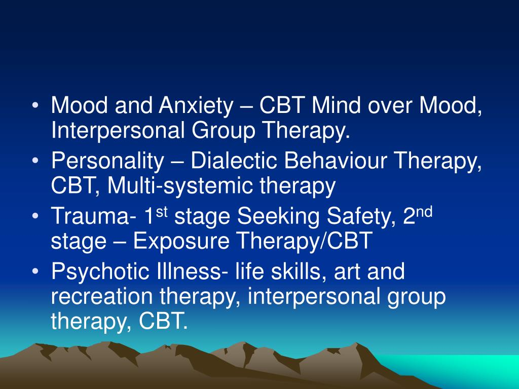 Mood and Anxiety – CBT Mind over Mood, Interpersonal Group Therapy.