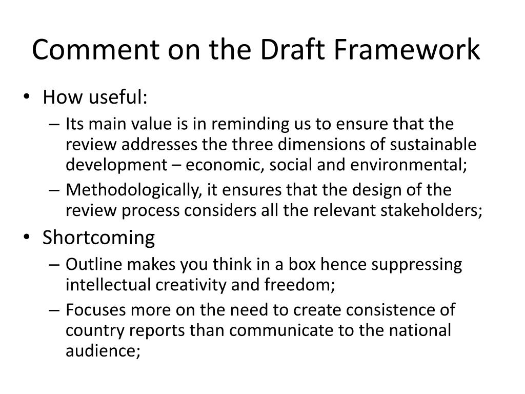 Comment on the Draft Framework