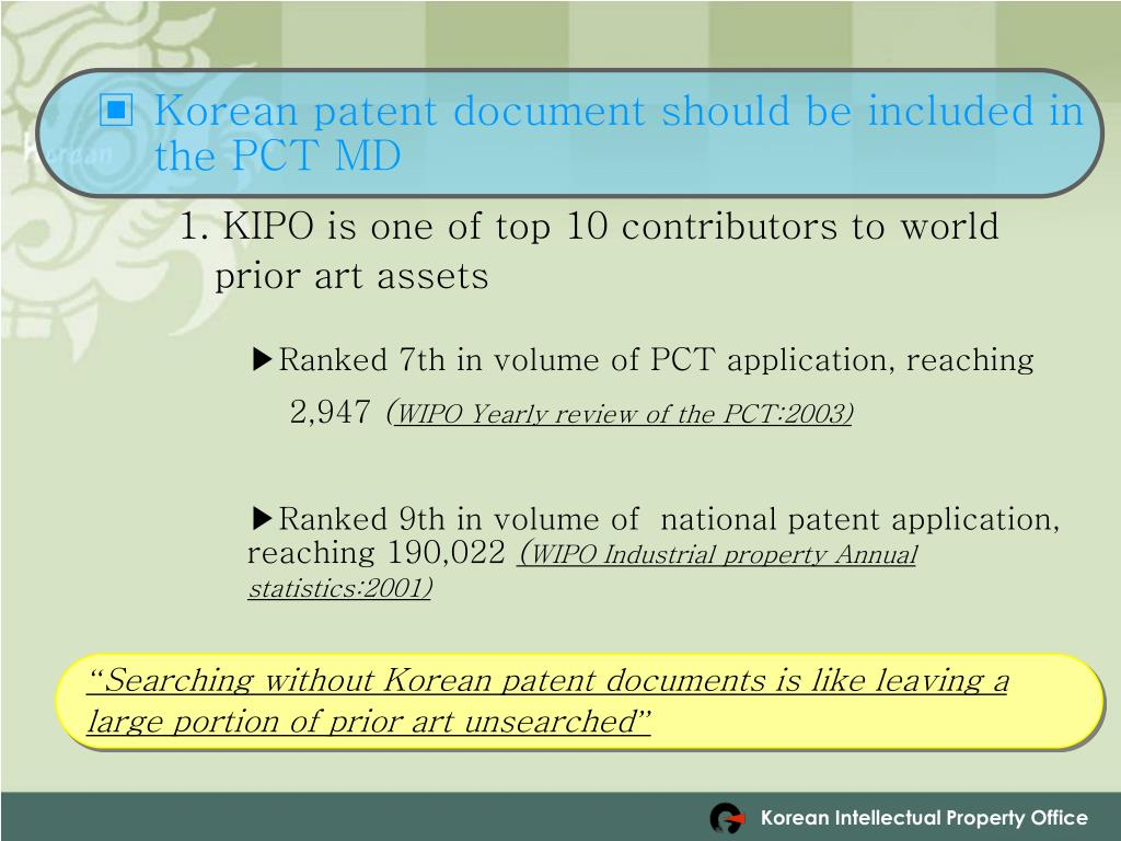 Korean patent document should be included in the PCT MD