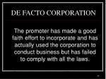 de facto corporation