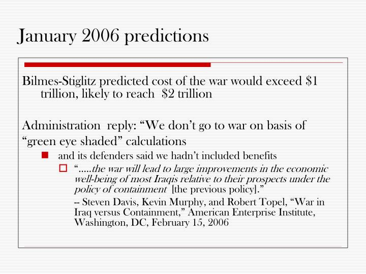 January 2006 predictions