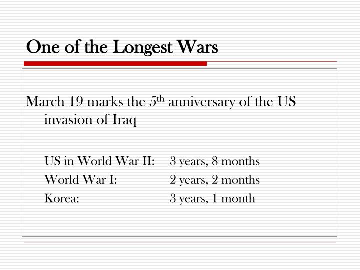 One of the longest wars